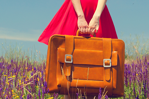 Airbnb Lady Red Dress Suitcase