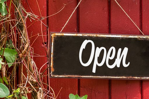Open Home Sign Hanging Red Wall