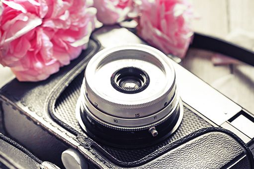 Vintage Camera with Pink Roses